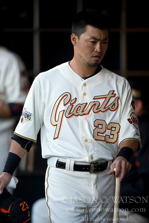 SAN FRANCISCO, CA - APRIL 18:  Nori Aoki #23 of the San Francisco Giants stands in the dugout during the first inning against the Arizona Diamondbacks at AT&T Park on April 18, 2015 in San Francisco, California.  The San Francisco Giants defeated the Arizona Diamondbacks 4-1. (Photo by Jason O. Watson/Getty Images) *** Local Caption *** Nori Aoki