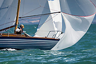 Richard Matthew's 1959 Scorpio competing in Cowes during the Panerai British Classic Sailing Week regatta against Michael Hough's Chloe Giselle. <br /> Picture date: Monday July 10, 2017.<br /> Photograph by Christopher Ison ©<br /> 07544044177<br /> chris@christopherison.com<br /> www.christopherison.com