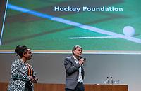 UTRECHT - KNHB Directeur Erik Gerritsen met Maartje Scheepstra, over de Hockey Foundation.  Het KNHB Nationaal Hockey Congres 2020, Samen werken aan de   toekomst. COPYRIGHT  KOEN SUYK