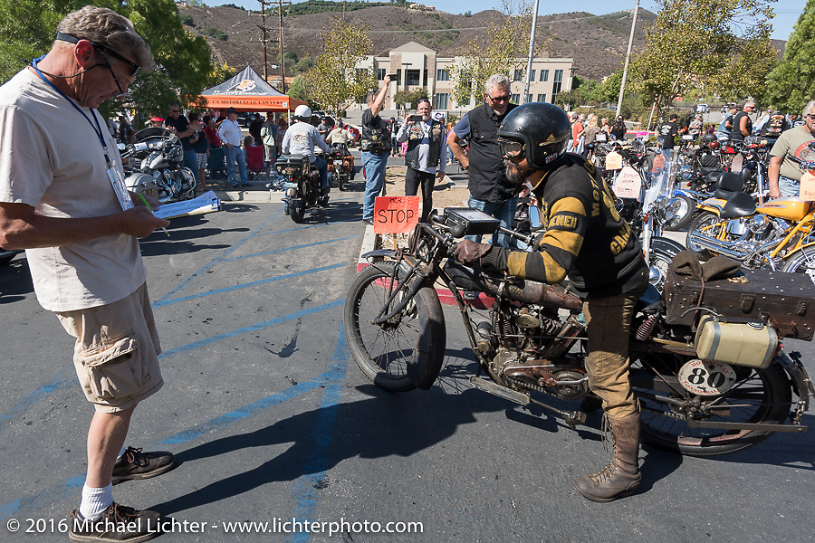 Shinya Kimura on his 1915 Indian as he arrives at the hosted lunch stop at Temecula Harley-Davidson on the last day of the Motorcycle Cannonball Race of the Century. Stage-15 ride from Palm Desert, CA to Carlsbad, CA. USA. Sunday September 25, 2016. Photography ©2016 Michael Lichter.