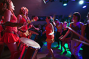 Moscow, Russia, 31/03/2012..Carnival music band Maracatu and audience dancing at the FAQ Cafe.