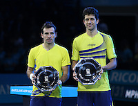 Ivan Dodig and Marcelo Melo Runners up Trophy lost to Bob Bryan and Mike Bryan in their Doubles Final match<br /> <br /> Photographer Kieran Galvin/CameraSport<br /> <br /> International Tennis - Barclays ATP World Tour Finals - O2 Arena - London - Day 8 - Sunday 16th November 2014<br /> <br /> © CameraSport - 43 Linden Ave. Countesthorpe. Leicester. England. LE8 5PG - Tel: +44 (0) 116 277 4147 - admin@camerasport.com - www.camerasport.com