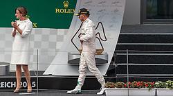 21.06.2015, Red Bull Ring, Spielberg, AUT, FIA, Formel 1, Grosser Preis von Österreich, Rennen, im Bild v.l.: Innenministerin Johanna Mikl- Leitner (OeVP) und 2. Platz Lewis Hamilton, (GBR, Mercedes AMG Petronas F1 Team) // f.r. 2nd placed Lewis Hamilton, (GBR, Mercedes AMG Petronas F1 Team) and Austrias Interior Minister Johanna Mikl- Leitner during the Race of the Austrian Formula One Grand Prix at the Red Bull Ring in Spielberg, Austria, 2015/06/21, EXPA Pictures © 2015, PhotoCredit: EXPA/ JFK