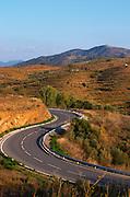 Winding road, terraced vineyards. Priorato, Catalonia, Spain