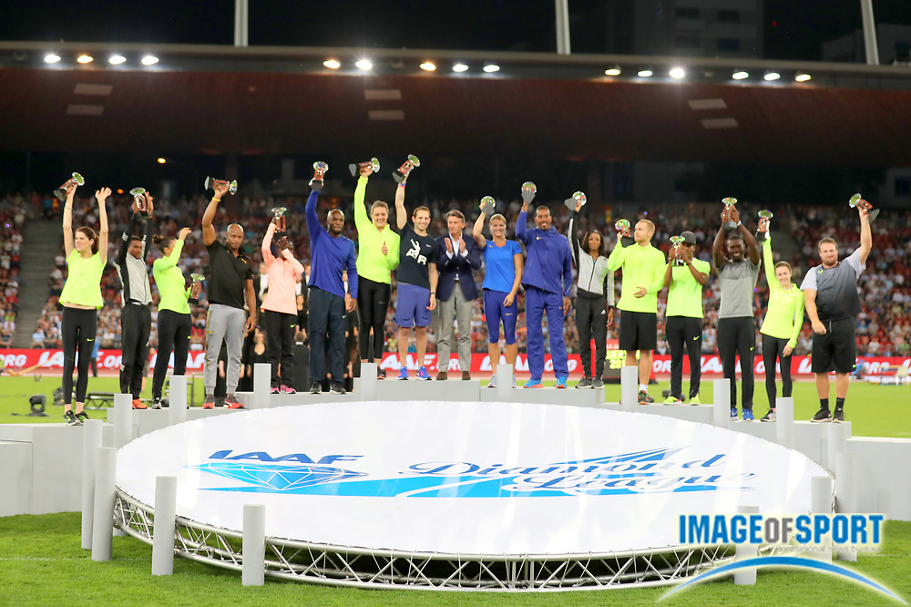 Sep 1, 2015; Zurich, SWITZERLAND; IAAF president Sebastian Coe (GBR) poses with Diamond League winners at the 2016 Weltklasse Zurich meeting at Letzigrund Stadium. From left: Ruth Beitia (ESP), Hagos Gebrhiwet (ETH), Ivana Spanovic (SRB), Asafa Powell (JAM), Ruth Jebet (KEN), LaShawn Merritt (USA), Sandra Perkovic (CRO), Renaud Lavillenie (FRA), Coe, Dafne Schippers (NED), Christian Taylor (USA), Kendra Harrison (USA), Jakub Vadlejch (CZE), Omar McLeod (JAM), Kerron Clement (USA), Laura Muir (GBR) and Tomas Walsh (NZL). Photo by Jiro Mochizuki