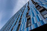 Blue architectural detail and pattern on the exterior of the Altura student accommodation building in Five Ways on 18th January 2020 in Birmingham, United Kingdom. Modern student living in cities like Birmingham is now often in purpose built blocks such as this rather than in individual homes.