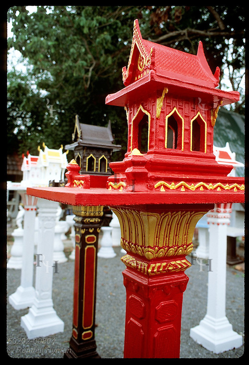 Spirit houses for sale: Phra Phum, Lord of the Land, lives in each, bringing owners good luck. Thailand