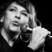 Annie Denison sings with Milwaukee Sleighriders live at Shank Hall. Photo ©  Jennifer Rondinelli Reilly. All rights reserved. May not be reused without permission.