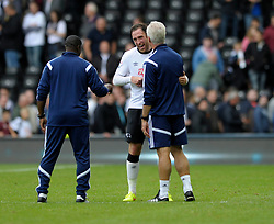 Derby County's Richard Keogh spares a joke with Ipswich Town Manager, Mick McCarthy at the end of the game - Photo mandatory by-line: Dougie Allward/JMP - Mobile: 07966 386802 30/08/2014 - SPORT - FOOTBALL - Derby - iPro Stadium - Derby County v Ipswich Town - Sky Bet Championship