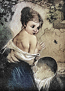 Machine colourised (AI) A young maiden is frightened by a wasp while she is bathing, Artwork from Godey's Lady's Book and Magazine, 1880, Published in Philadelphia, USA by Louis A. Godey, Sarah Josepha Hale,