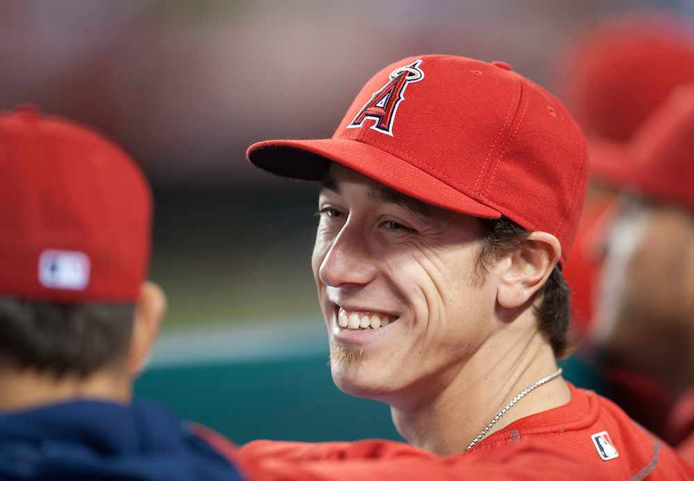 Tim Lincecum smiles on the bench during the Angels' 7-4 loss to Oakland at Angel Stadium on Friday.<br /> <br /> ///ADDITIONAL INFO:   <br /> <br /> angels.0625.kjs  ---  Photo by KEVIN SULLIVAN / Orange County Register  --  6/24/16<br /> <br /> The Los Angeles Angels take on the Oakland Athletics Friday at Angel Stadium.<br /> <br /> <br />  6/24/16