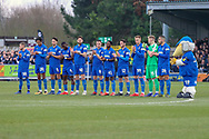 AFC Wimbledon players clapping during the The FA Cup 5th round match between AFC Wimbledon and Millwall at the Cherry Red Records Stadium, Kingston, England on 16 February 2019.