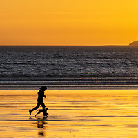 jogging at sunrise