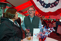 Sarah and John Mattes enjoying the festivities at the Red, White and Brew Fest on Saturday afternoon at Funspot.  (Karen Bobotas/for the Laconia Daily Sun)