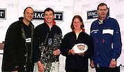 © 2000 All Rights Reserved - Peter Spurrier Sports Photo. <br /> Tel 44 (0) 1784-440 771  <br /> Mobile 44 (0) 973 819 551<br /> email pictures@rowingpics.com<br /> <br /> Presentation - Left to right Steve Redgrave, mens's winner Iztok Cop (SLO)  Women's winner Katerine Rutschow-Stomperoski (GER) (GER) and Pertti Karpinnen<br /> <br /> <br /> <br /> <br /> <br /> <br /> <br /> <br /> <br />    [Mandatory Credit, Peter Spurier/ Intersport Images] 20010301 Thames World Sculling Challenge, Putney, London