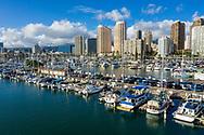 Aerial view of Ala Wai Boat Harbor, Waikiki Beach, Honolulu, Oahu, Hawaii