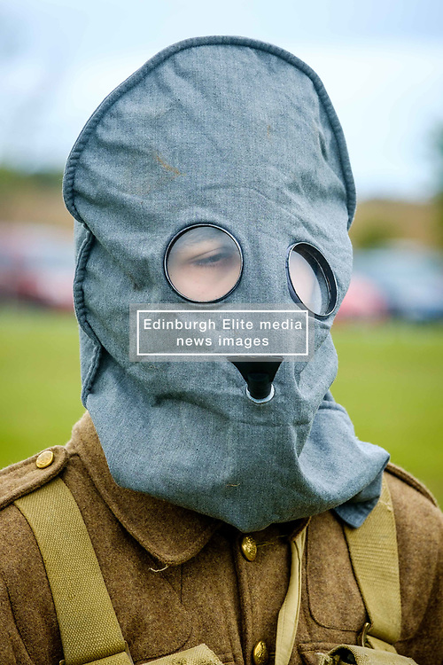 Sunday 7th May 2017 East Fortune:  Wartime Experience at the National Museum of Flight, East Fortune.  Display with gas masks by reenactors in Gordon Highlanders uniform.<br /> <br /> (c) Andrew Wilson   Edinburgh Elite media