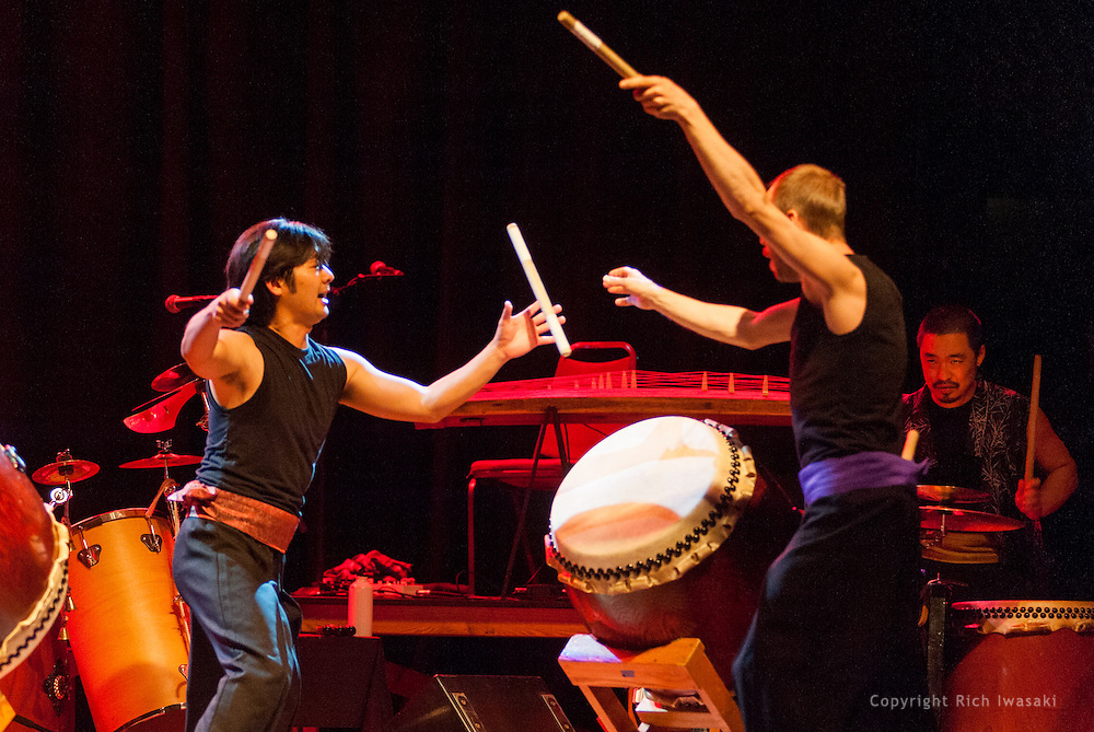 """Members of On Ensemble perform during Portland Taiko """"Making Waves 2013"""" concert, Aladdin Theater, Portland, Oregon"""