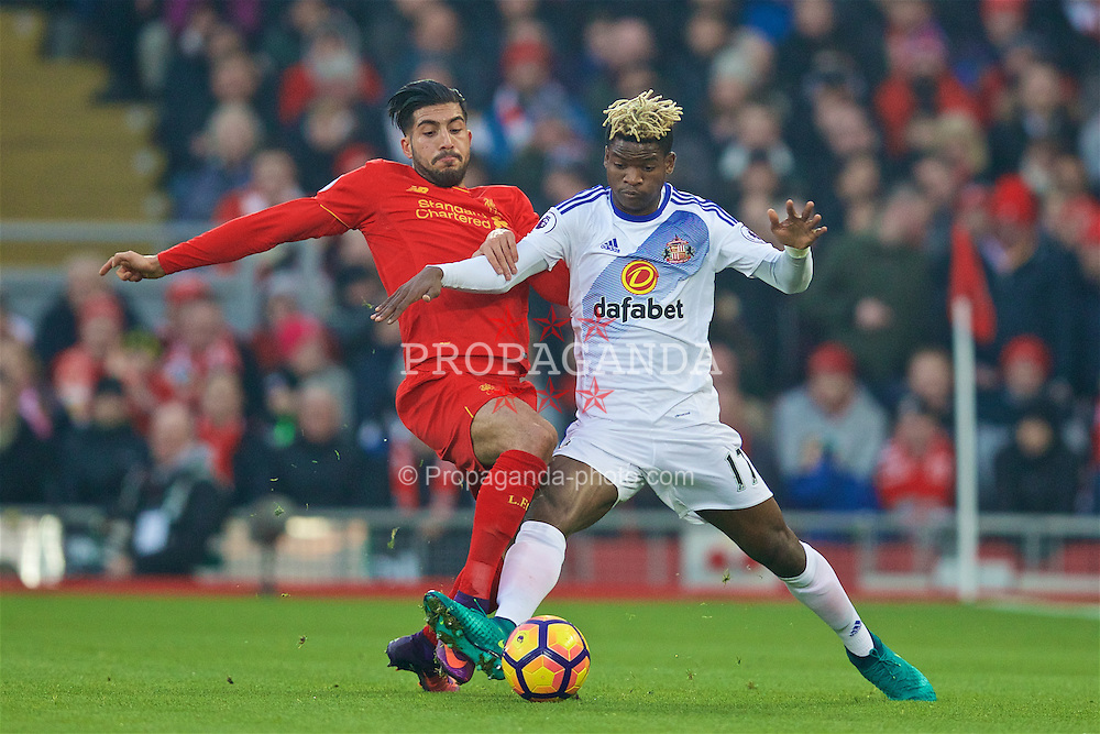 LIVERPOOL, ENGLAND - Saturday, November 26, 2016: Liverpool's Emre Can in action against Sunderland's Didier Ndong during the FA Premier League match at Anfield. (Pic by David Rawcliffe/Propaganda)