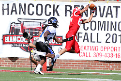 15 September 2012:  Lechein Neblett extends in mid air to pull in a pass from Matt Brown during an NCAA football game between the Eastern Illinois Panthers and the Illinois State Redbirds at Hancock Stadium in Normal IL