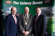 Anthony Ryan, with Mayor of Galway Cllr Noel Larkin  and Michael Moloney Galway Race Course manager in the g hotel for the launch of The Galway Races 2016 Summer Festival which runs from the 25th of July to the 31st of July in Galway City. Photo: Andrew Downes :