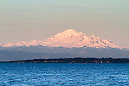Sunset on Mount Baker (Kulshan) from Centennial Beach on Boundary Bay in Tsawwasen, British Columbia, Canada
