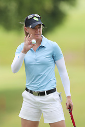 March 2, 2019 - Singapore - Amy Olson of the United States acknowledges the crowds applause on the 10th hole during the third round of the Women's World Championship at the Tanjong Course, Sentosa Golf Club. (Credit Image: © Paul Miller/ZUMA Wire)