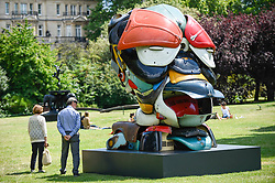 "© Licensed to London News Pictures. 03/07/2019. LONDON, UK. ""Autonomous Morris"", 2018, by Zak Ové. Frieze Sculpture opens in Regent's Park, London's largest free display of outdoor art.  Works from 23 international artists are on display 3 July to 6 October 2019.  Photo credit: Stephen Chung/LNP"