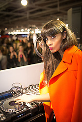 © Licensed to London News Pictures . 10/10/2013 .Manchester , UK . Presenter and model Jameela Jamil DJs on the 3rd floor in Selfridges . Vogue Fashions Night Out in Selfridges , Exchange Square , Manchester City Centre . Photo credit : Joel Goodman/LNP
