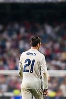 Real Madrid's player Alvaro Morata during a match of La Liga Santander at Santiago Bernabeu Stadium in Madrid. August 27, Spain. 2016. (ALTERPHOTOS/BorjaB.Hojas)