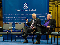 Pictured: John Swinney and John Chambers, moderator of the Church of Scotland<br /> <br /> The People Politics Hustings,  organised by the Church of Scotland, allowed voters to question SNP deputy John Swinney, Scottish Labour leader Kezia Dugdale, Scottish Liberal Democrat leader Willie Rennie, Scottish Greens co-convener Patrick Harvie and former Scottish Conservatives leader Annabel Goldie ahead of the Scottish Elections. Before the politicians had a chance to speak they had a chance to listen to five speakers with different viewpoints on how Scotland has supported them in the past and how it should support them in the future..<br /> Ger Harley   EEm 4 April 2016