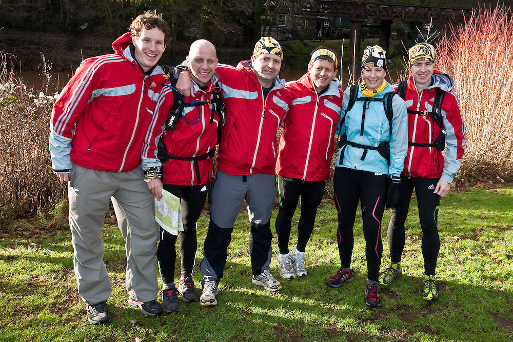 Left to Right - Bruce Duncan, Nick Gracie, Richard Maddon, Mike Bushall, Fi Spotswood, Mark Humphrey  at the start of  Training with AdidasTERREX on the Wenger Patagonia Expedition Race media day. 11/01/2011.Copyrighted work - Permission must be sought before use of this image..Alex Ekins +44 (0)7901 882994.