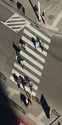 BRUSSELS, BELGIUM - APRIL-04-2007 - Aerial view of pedestrian crossing a street in a cross-walk.(Photo © Jock Fistick)