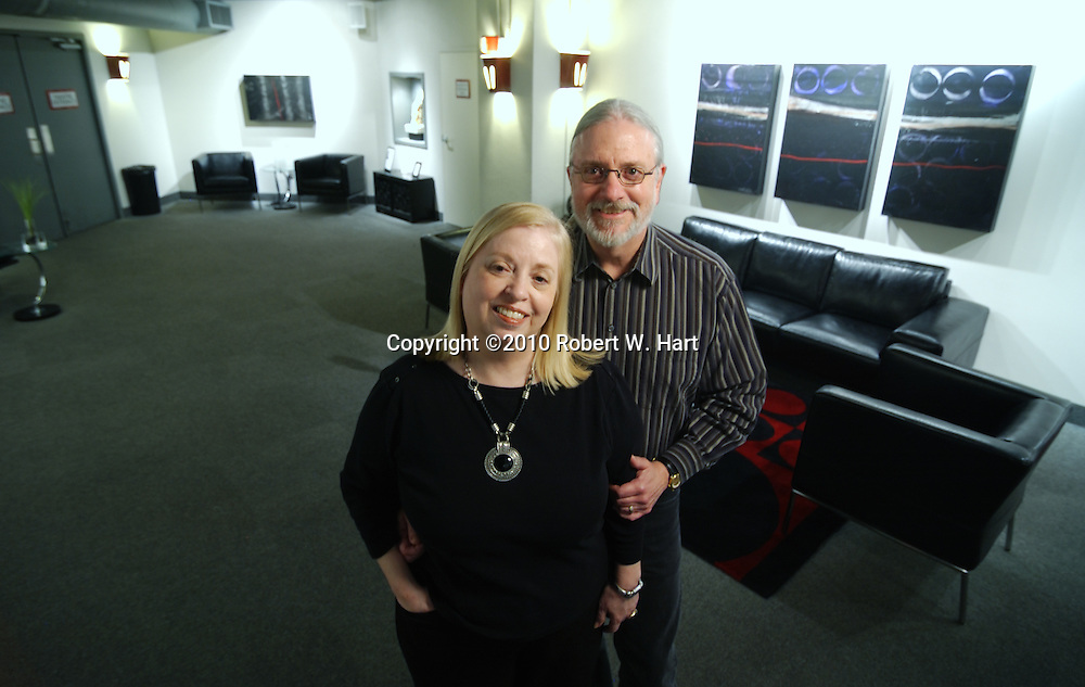 Rose Pearson, left, and Bill Newberry in the lobby of Circle Theatre on January 11, 2011 in Fort Worth, Texas. Photographer: robert w. hart