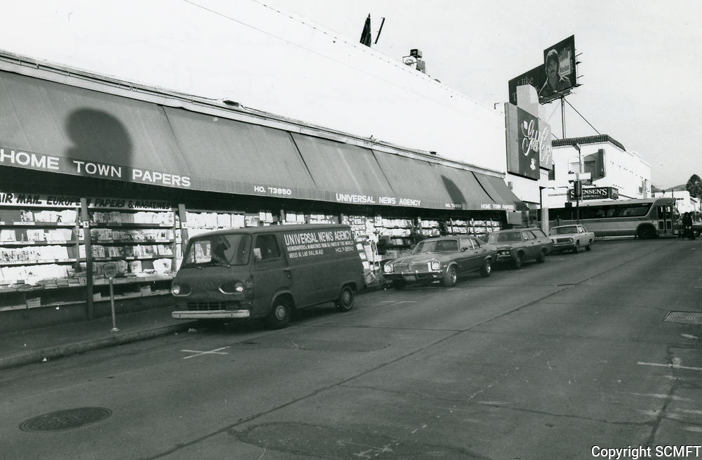 1975 Universal News Stand on the west side of Las Palmas Ave., just south of Hollywood Blvd.