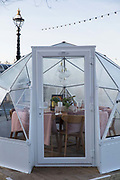 Jimmys Lodge private Igloo, temporary Christmas pods on the South Bank on the 11th December 2018 in London in the United Kingdom.