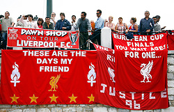 Athens, Greece - Wednesday, May 23, 2007: Liverpool's fans with their banners, in Syntagma Square ahead of the UEFA Champions League Final against AC Milan. (Pic by David Rawcliffe/Propaganda)