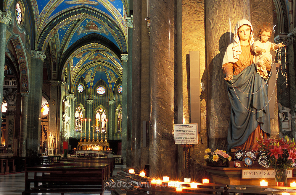 The Basilica Santa Maria sopra Minerva is the only Gothic church in Rome.  It was begun in 1280 and stands on the ruins of the Temple of Minerva built by Pompey around 50 BCE.  On the right is the Shrine to the Virgin Mary.