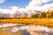 Morning at the Buffalo Fork of the Snake River with the Tetons Reflected in Grand Teton National Park