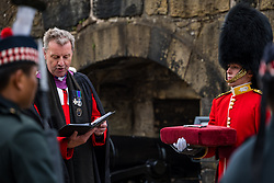 Installation of Edinburgh Castle Govenor, Edinburgh Castle, Edinburgh, Scotland, United Kingdom 23  June 2021: <br /> Installation as Governor of Edinburgh Castle: the dress rehearsal takes place for the ceremony which will be held tomorrow, two years after the handover of the position to Maj Gen Alastair Bruce of Crionaich.  The ceremony was delayed due to Covid-19. The role of Governor is a historic one, dating back to 1067. Maj Gen Bruce is also a Sky News commentator. Representative form all Scottish military regiments are involved, in a ceremony that takes a new curtailed form only within the castle due to Covid restrictions. Pictured: Neil Gardner, Minister of Canongate Kirk and the Governor's padre and the key to the castle<br /> Sally Anderson | EdinburghElitemedia.co.uk