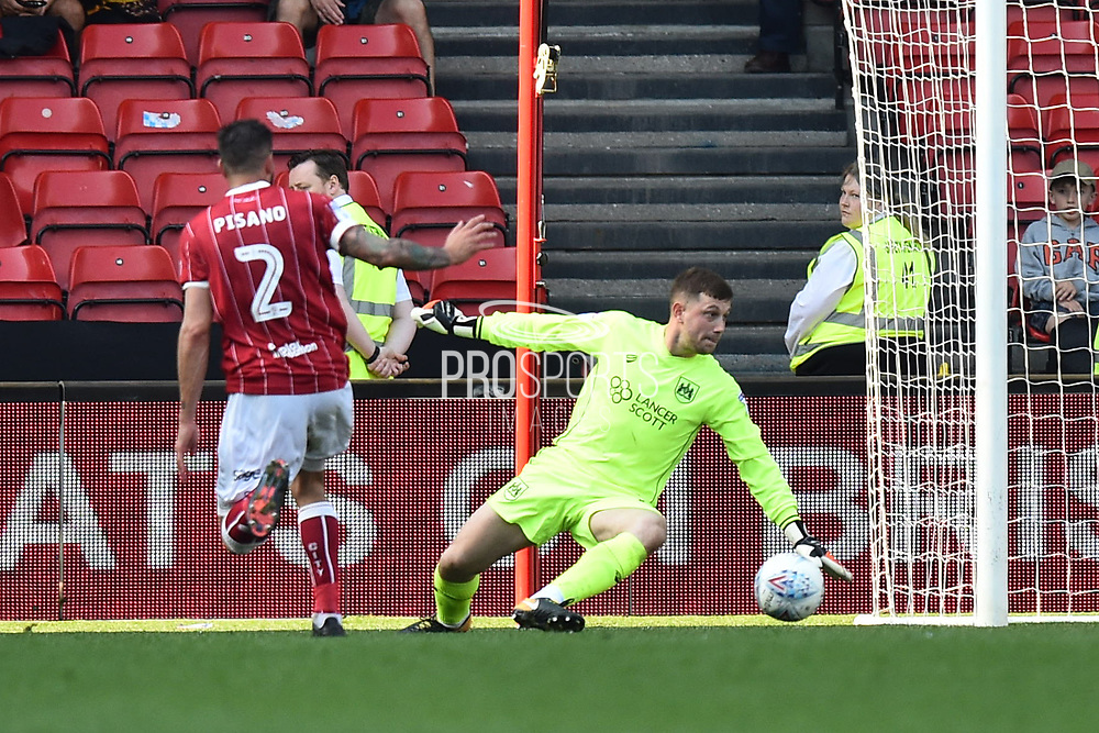 Goal - Frank Fielding (1) of Bristol City is beaten by a Fraizer Campbell (25) of Hull City goal to make the score 4-5 during the EFL Sky Bet Championship match between Bristol City and Hull City at Ashton Gate, Bristol, England on 21 April 2018. Picture by Graham Hunt.
