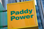 Sign for the gambling brand Paddy Power in Birmingham, United Kingdom.