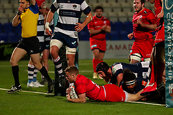 Tom Whiteley of Saracens scores a try  - Mandatory by-line: Nick Browning/JMP - 26/02/2021 - RUGBY - Butts Park Arena - Coventry, England - Coventry Rugby v Saracens - Friendly