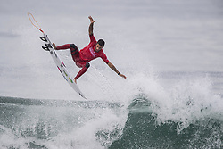 September 15, 2017 - San Onofre, California, USA - Filipe Toledo of Brazil gets some air as he surfs against Kanoa Igarashi of Huntington Beach in the quarterfinals of the Hurley Pro at Trestles held at San Onofre State Beach on Friday, August 15, 2017. Toledo defeated Igarashi and went on to win the competition. (Credit Image: © Mark Rightmire/The Orange County Register via ZUMA Wire)