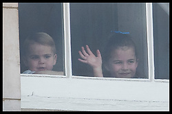 June 8, 2019 - London, London, United Kingdom - Image licensed to i-Images Picture Agency. 08/06/2019. London, United Kingdom. Prince Louis and Princess Charlotte wave from a window of Buckingham Palace  during  Trooping the Colour in London. (Credit Image: © Stephen Lock/i-Images via ZUMA Press)