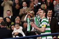 CIS Cup Final<br /> Celtic v Rangers<br /> Hampden Park<br /> Glasgow<br /> <br /> Celtic Captain Sttephen McManus lifts the CIS Cup after there 2 -0 extra time win over Rangers.15/03/2009 Credit Colorsport / Ian MacNicol