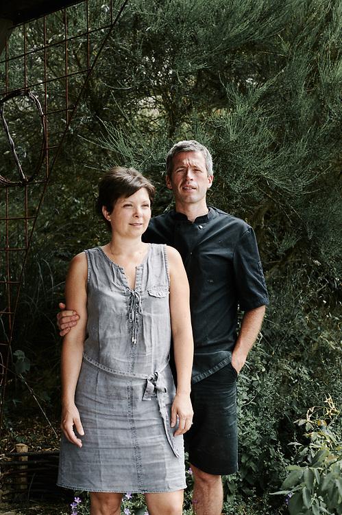 Yann and Delphine Ducatteeuw, owner of the Saveurs & Valeurs restaurant. Saint-Pierre-de-Frugie, France. July 12, 2019.