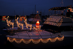 Christmas decorations on a boat in Kemah, Texas