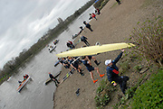 Putney, London, Oxford Isis crew, carrying boat, after their defeat by Cambridge Goldie, 156th University Boat Race, River Thames, between Putney and Chiswick, on the Championship Course.  Saturday  03/04/2010 [Mandatory Credit Karon Phillips/Intersport Images]