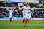 Goal, Brett Pitman of Portsmouth scores from a free kick, Wycombe Wanderers 1-3 Portsmouth during the EFL Sky Bet League 1 match between Wycombe Wanderers and Portsmouth at Adams Park, High Wycombe, England on 6 April 2019.